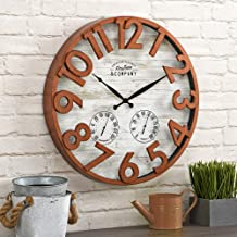FirsTime & Co. Shiplap Farmhouse Outdoor Wall Clock, Copper, 18 inches (31219)