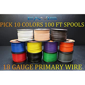 10 GAUGE WIRE ENNIS ELECTRONICS PICK 6 COLORS 100 FT SPOOLS PRIMARY REMOTE HOOK UP AWG COPPER CLAD PICK 6 ROLLS