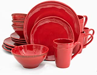Euro Ceramica Algarve Collection Artisan-Inspired 16 Piece Stoneware Dinnerware Set, Service for 4, Red