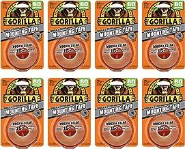 """Gorilla 6065001-8 Stoere & Clear Montage Tape, Dubbelzijdig, 1"""" x 60"""", Duidelijk, (Pack van 8), 8 Pack"""
