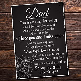 """VinMea Love and Miss You Dad Memorial Grave Plaque Father's Day Daddy Gift Bereavement Sign Wooden Signs 4"""" X 8"""""""