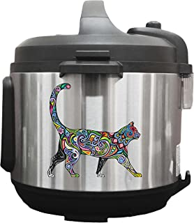 Swirling Colorful Cat Walking - 6 inch Vinyl Decals for Instant Pot Appliances