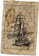 3D Rose Image of Black Ghost Ship On Vintage European Map Hand Towel, 15 x 22