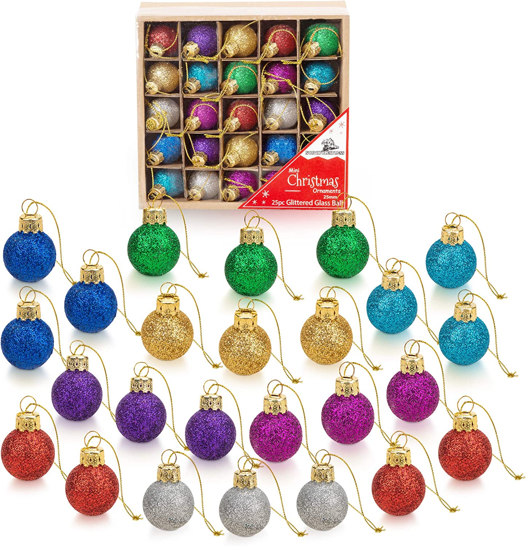 20 Inch Multicolor Mini Glitter Glass Ball Christmas Ornaments Set of 20  Balls   Miniature Christmas Tree Ornaments   Rustic Christmas Decorations    ...