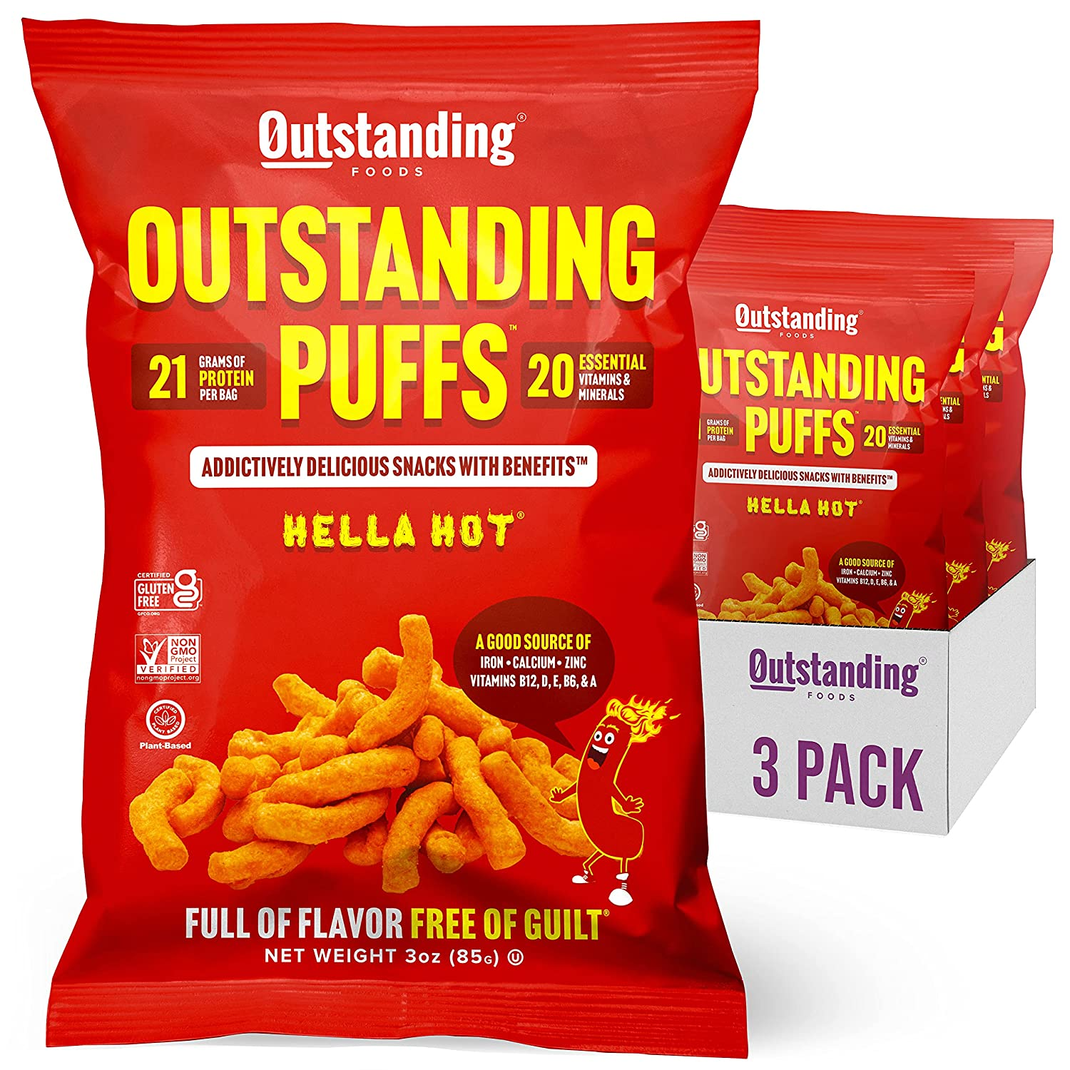Outstanding Puffs   High Protein Healthy Snacks   Plant Based, Vegan, Certified Kosher, Gluten Free, Soy Free   Hella Hot, 3oz Bag, Pack of 3