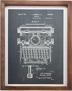 "Barnyard Designs Typewriter Design Patent Print Framed Sign Vintage Retro Industrial Home & Office Wall Decor 15.75"" x 11.75"""