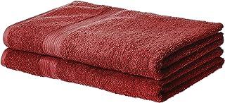 AmazonBasics TFRBS2CRI 2-Pack Fade-Resistant Bath Sheet Towel, Cotton, Crimson, W 14.0 x H 10.0 x L 12.0 inch