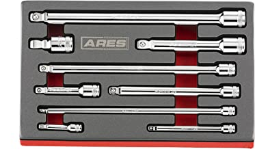 ARES 70330   9-Piece Wobble Extension Set   Premium Chrome Vanadium Steel Construction   1/4-inch, 3/8-inch and 1/2-inch Drive Sizes Included   Storage Tray Included