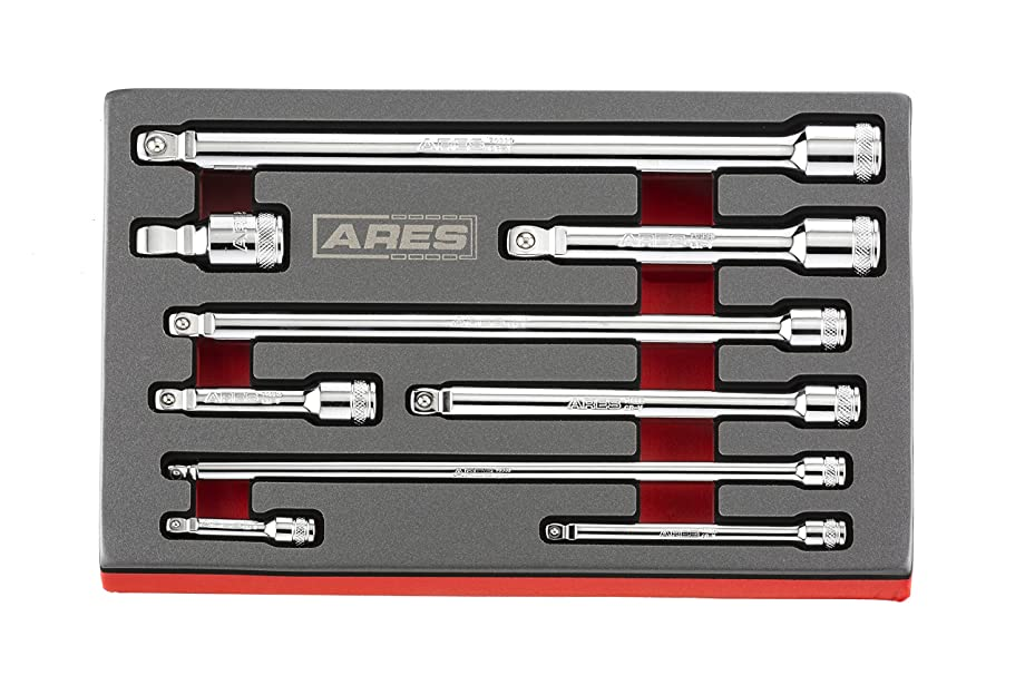 ARES 70330 | 9-Piece Wobble Extension Set | Premium Chrome Vanadium Steel Construction | 1/4-inch, 3/8-inch and 1/2-inch Drive Sizes Included | Storage Tray Included