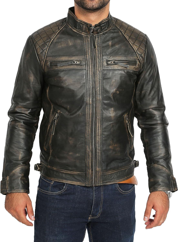 Mens Biker Style Real Leather Jacket Vintage Rub Off Effect Lambskin Coat- Django