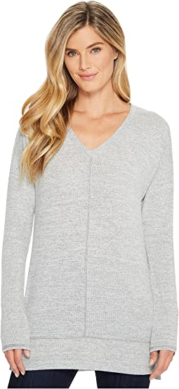 Mod-o-doc - Lightweight Heather Sweater Knit Drop Shoulder V-Neck Sweater