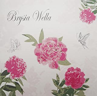 White Cotton Cards Brysia Wella, Handmade Welsh Card (Pink, Roses)