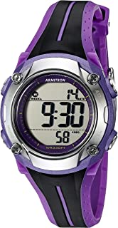 Armitron Sport Women's 45/7063PUR Digital Chronograph Black and Purple Resin Strap Watch