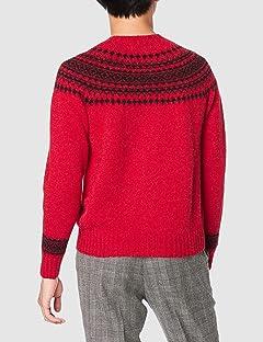 Yoke Pattern Crewneck Sweater M3170: Jester Red / Black