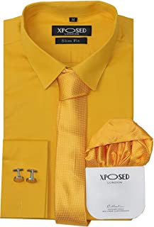 Mens Classic Cotton Slim Fit Shirt Tie Hanky Cufflinks 3 Piece Gift Set Smart Casual Formal Work 22 Colours