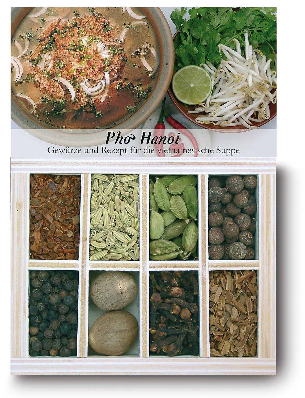 Pho Hanoi – 20 Gewürze Set für die vietnamesische Suppe 20g – in einem  schönen Holzkästchen – mit Rezept und Einkaufsliste – Geschenkidee für ...