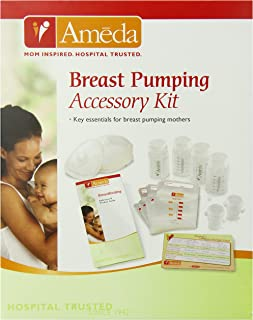 Ameda Breast Pumping Accessory Kit Includes: (10) NoShow Premium Disposable Nursing Pads, (20) Store 'N Pour Milk Bags with (2) Adapters, (4) Milk Storage Bottles, Milk Storage Guidelines