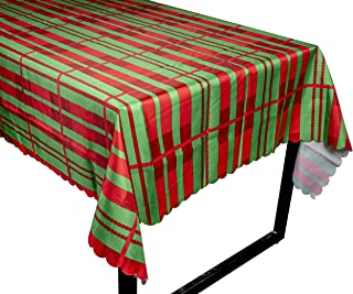 Juvale Christmas Tablecloth - Rectangle Table Cloth, Festive Holiday Party Decoration Supplies, Red and Green Stripes Design Scalloped Table Cover, 84 x 54 Inches