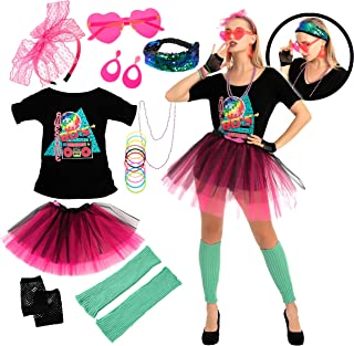 80s Costume Set with T-Shirt Tutu Headband & Other Halloween Cosplay Accessories