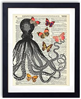 Octopus With Butterflies Upcycled Vintage Dictionary Art Print 8x10, unframed