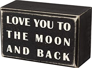 """Primitives by Kathy 16339 Classic Box Sign, 4"""" x 2.5"""", to The Moon and Back"""