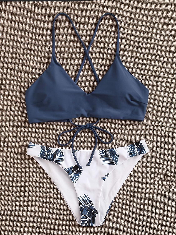 MakeMeChic Women's Beach Swimsuit Tropical Print Crisscross Lace Up Bikini Set