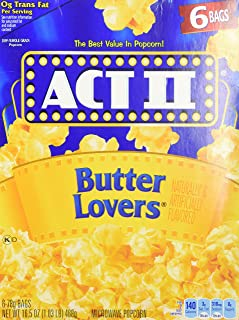 ACT II Butter Lovers Microwave Popcorn 2 boxes - 6 full-size bags in each (12 bags all together)