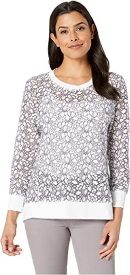 Lace Panel Seam Contrast Top