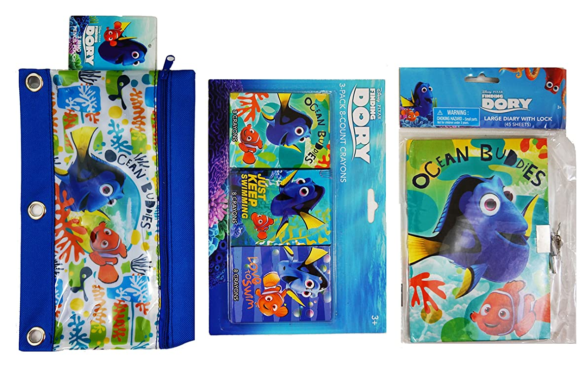 Finding Dory Creativity Bundle featuring Large Diary with Lock, 24 Crayons, and Finding Dory Pencil Case