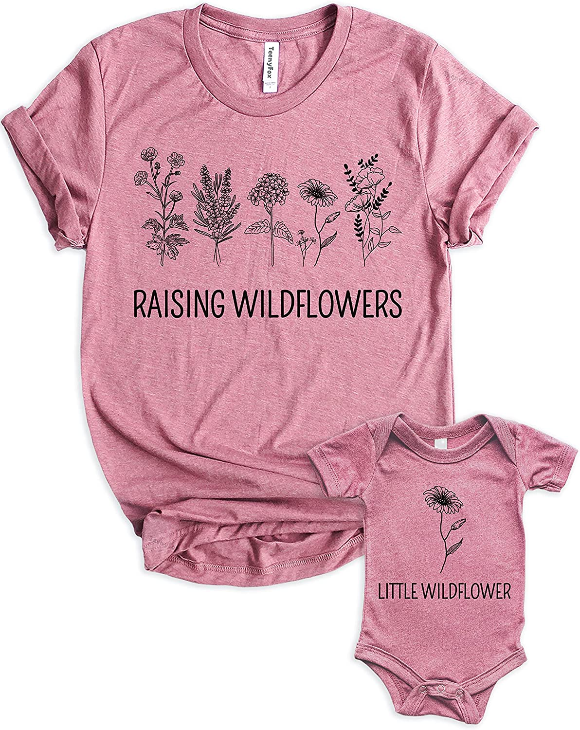 Teeny Fox Raising Wildflowers Little Sunflower Mother Girl Baby Matching Outfits Cute Family Shirts