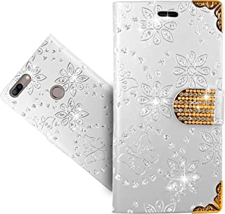 Elephone C1 Max Case, FoneExpert Bling Diamond Butterfly Flowers Leather Kickstand Flip Wallet Bag Case Cover For Elephone C1 Max