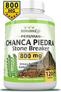 Chanca Piedra 800MG per Tablet - 120 Tablets Kidney Stone Crusher Gallbladder Support Peruvian Chanca Piedra Made in The USA