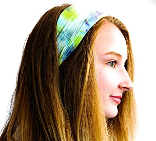 EARTH DIVAS, Natural Hemp Hair Accessory, Headband, Wrap or Turban, Stylish, Comfortable and Stretchy, Green and Blue Tie Dye, One Size