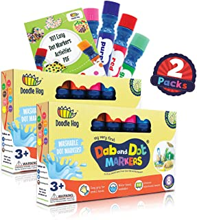 WASHABLE | Dab and Dot Markers | 8 Colors Pack Set | Fun Art Supplies for kids and preschoolers | Includes 200+ Fun Downlo...