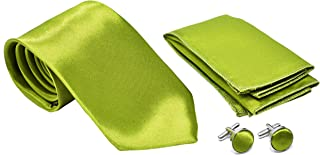 Solid Color Men's Tie, Pocket Square, and Cufflinks matching set