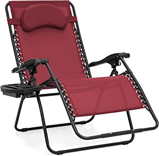 Best Choice Products Oversized Folding Mesh Zero Gravity Recliner Chair w/Cup Holder Accessory Tray and Removable Pillow, Burgundy