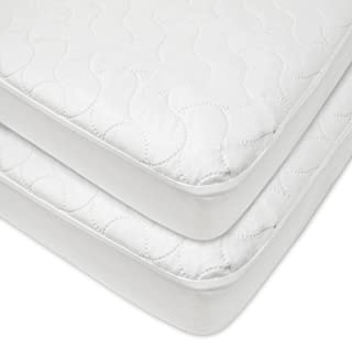 American Baby Company Waterproof Fitted Quilted Crib and Toddler Protective Pad Cover, White (2 Count)