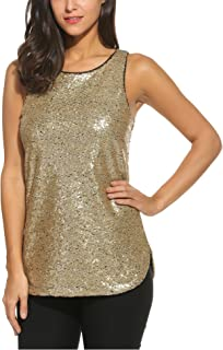 ef472a3c Zeagoo Women's Camisole Shimmer Sequined Double Side Slit Loose Fit Sparkle  Tank Top Vest Top