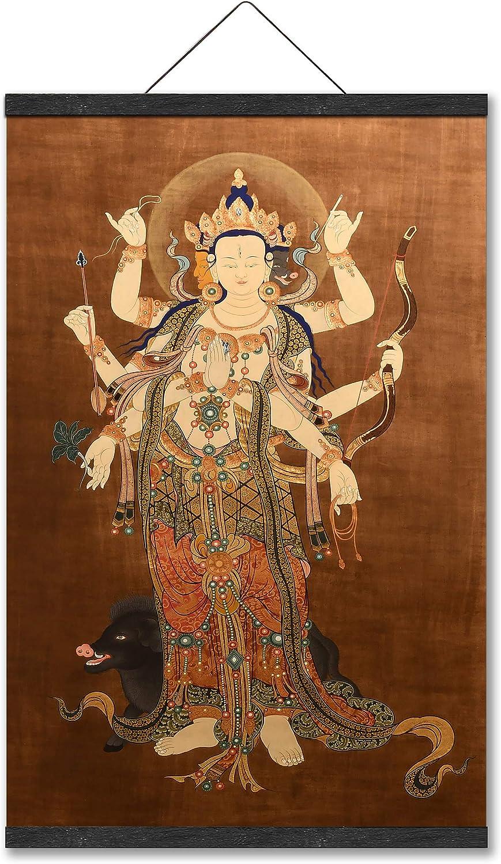 Morichitian Marīcīdevī Buddhist Goddess Thang-ga Tibetan TangKa Thangka Blue Hanging Poster Oriental Buddhist Artwork Wall Art for Home Décor Yoga Meditation Feng Shui Picture Canvas Prints with Magnetic Hanger Clip Frame (22 x 32 Inch)