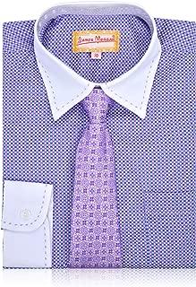 JAMES MORGAN Boys Boxed Design Dress Shirt with Tie - Sizes 4-7