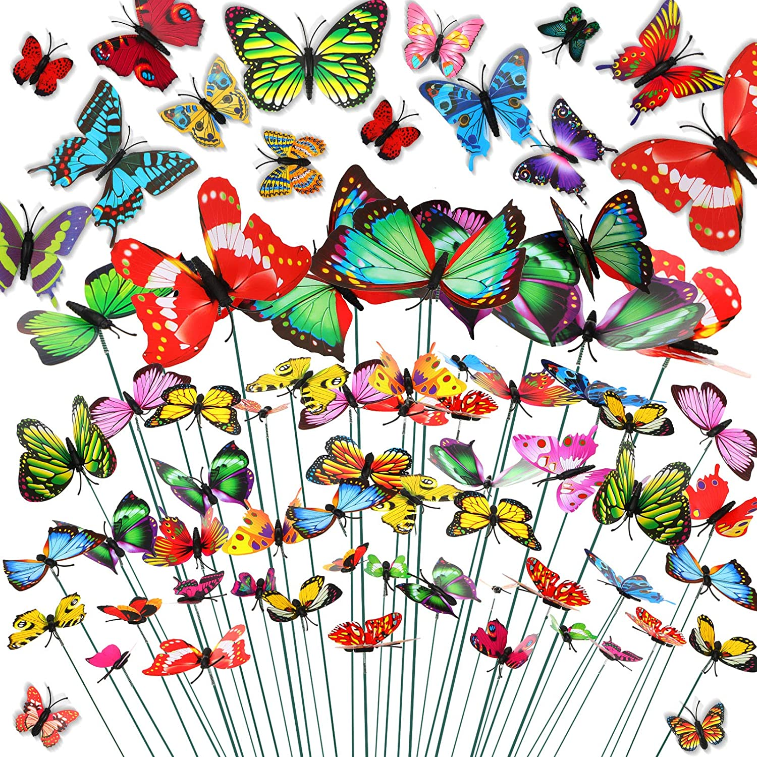 WILLBOND 120 Pieces Garden Butterfly Stakes Butterfly Stake Ornaments Waterproof Butterfly Decorations Butterflies Yard Ornaments with Adhesive Glue for Outdoor Garden Home Decorations