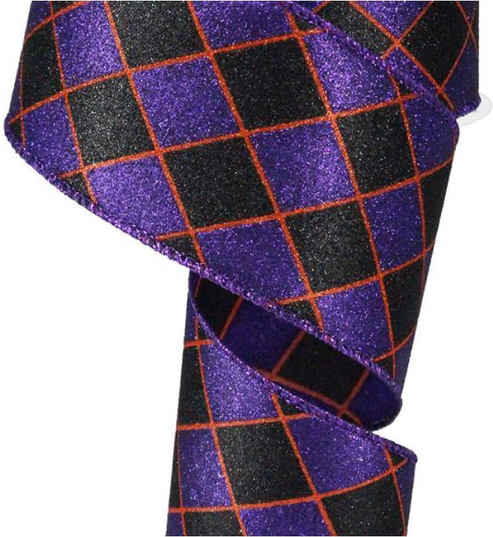 Glitter Harlequin Wired Edge Ribbon Black, Purple, Orange, 1.5 10 Yards