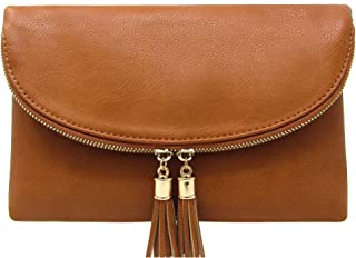 Women's Envelop Clutch Crossbody Bag With Tassels Accent