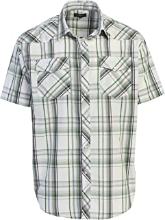 Gioberti Men's Short Sleeve Plaid Western Shirt W/Pearl Snap Buttons