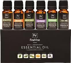 Aromatherapy Top 6 Essential Oils Gift Set - 100% Pure Premium Therapeutic Grade - Lavender, Tea Tree, Eucalyptus, Lemongrass, Orange, Peppermint 10ml.