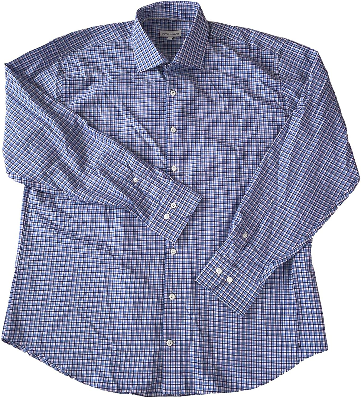 PETER MILLAR Men's Danger Point Check Cotton/Viscose/Tencel L/S Regular FIT Sport Shirt Delta Blue XL