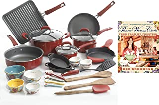 The Pioneer Woman Ultimate Bundle with Vintage Speckle 30-Piece Cookware Set Red and Hardcover Edition of The Pioneer Woman Cooks: Food from My Frontier Cookbook by Ree Drummond