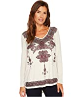 Tribal Long Sleeve Knit Top w/ Printed Faux Suede Front