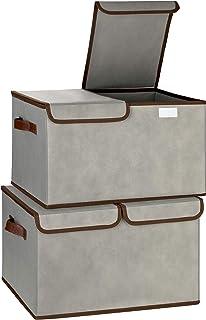 TOPP4u Lot de 2 grandes boîtes de rangement pliables avec couvercle divisé - Gris - 2 grandes boîtes de rangement idéales ...