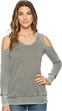 Allen Allen - Long Sleeve Cold Shoulder V-Neck Sweatshirt